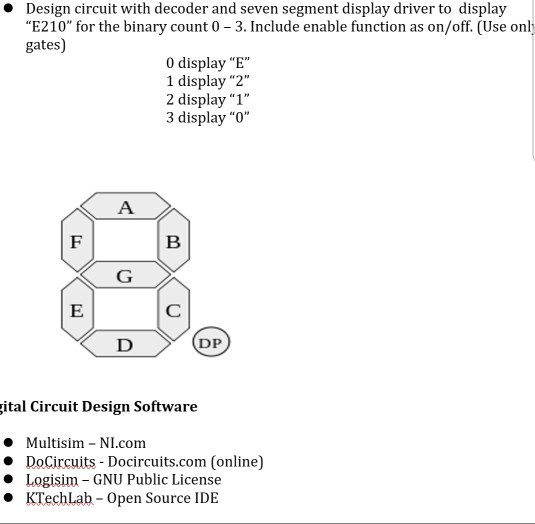 Solved: Design Circuit With Decoder And Seven Segment Disp