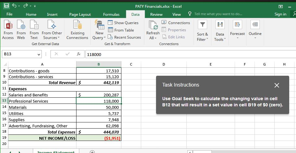 Solved: PATY Financials xlsx Excel 困 File Home Insert Pag