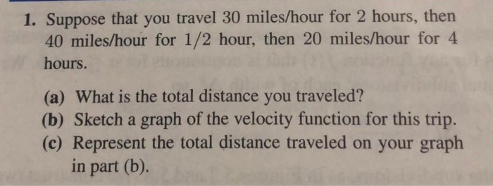 Suppose That You Travel 30 Miles Hour For 2 Hours Then 40