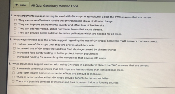 Solved: H Done A8 Quiz: Genetically Modified Food 1  What
