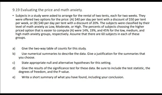 Solved: 9 19 Evaluating The Price And Math Anxiety  Subjec