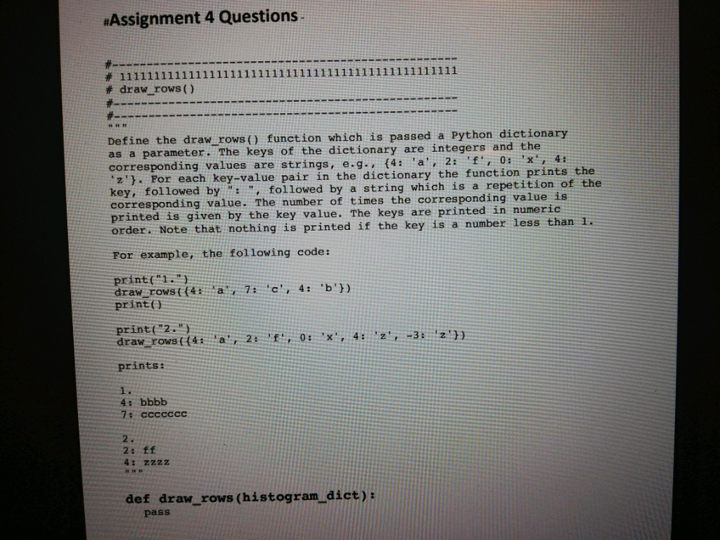 Solved: «Assignment 4 Questions Draw Rows () Define The Dr