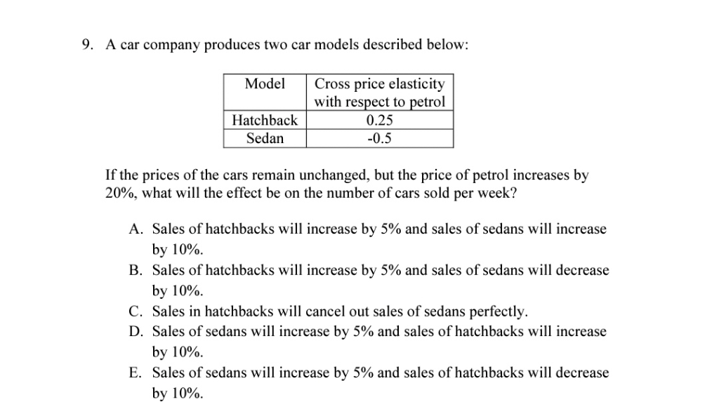 Solved: 9  A Car Company Produces Two Car Models Described
