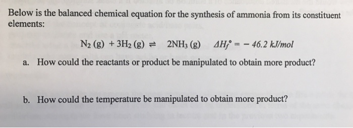 Solved Below Is The Balanced Chemical Equation For The Sy