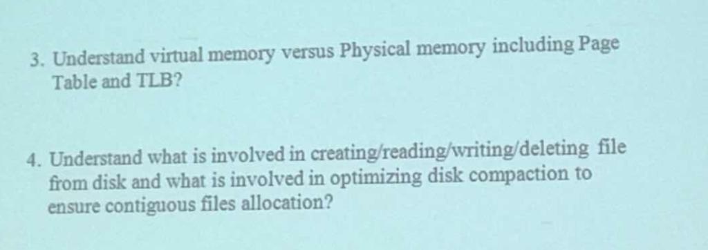 Solved 3 Understand Virtual Memory Versus Physical Memor