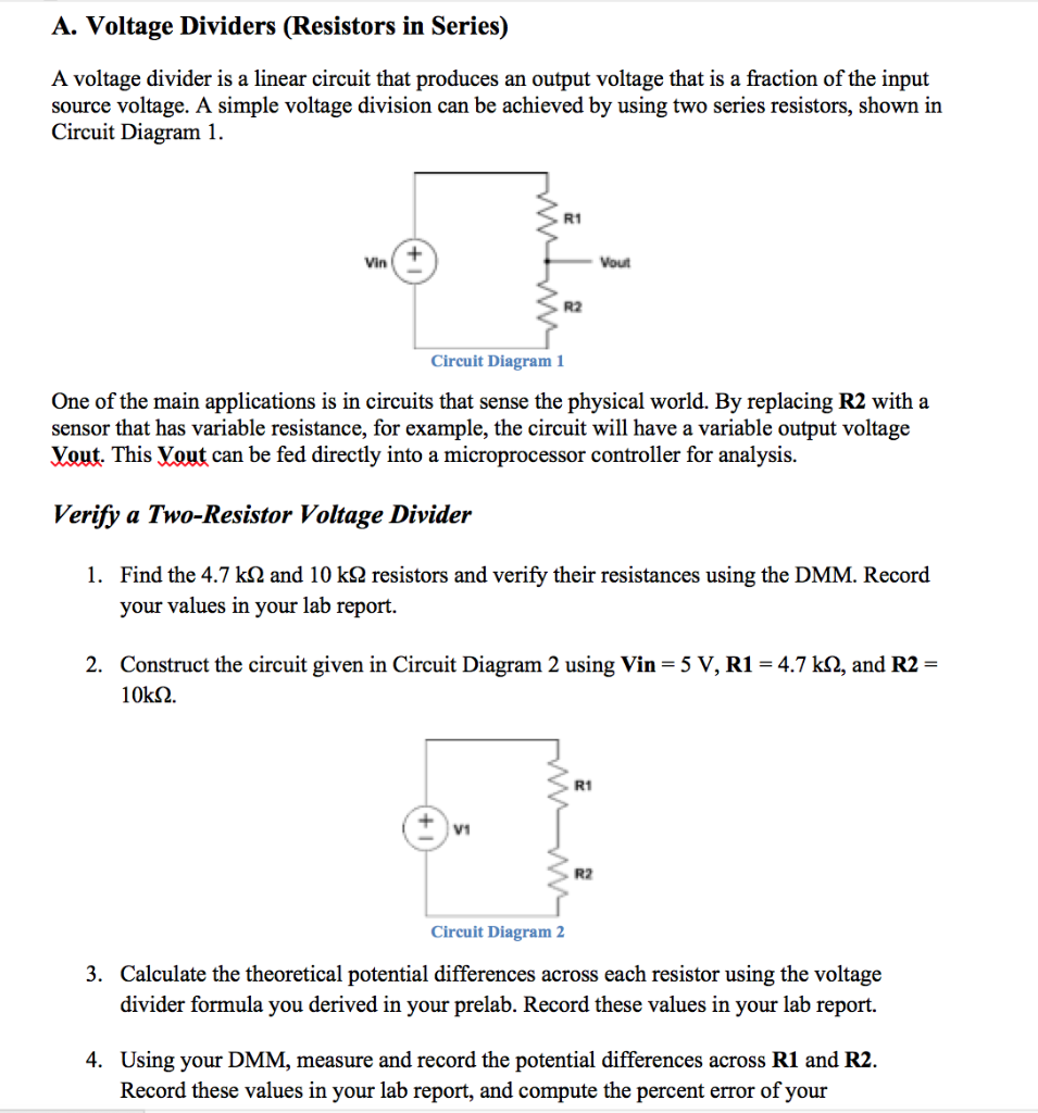 Astonishing Solved A Voltage Dividers Resistors In Series A Voltag Wiring Digital Resources Bemuashebarightsorg