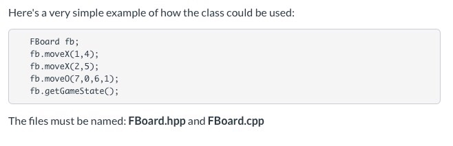 Solved: Write A Class Named FBoard For Playing A Game, Whe