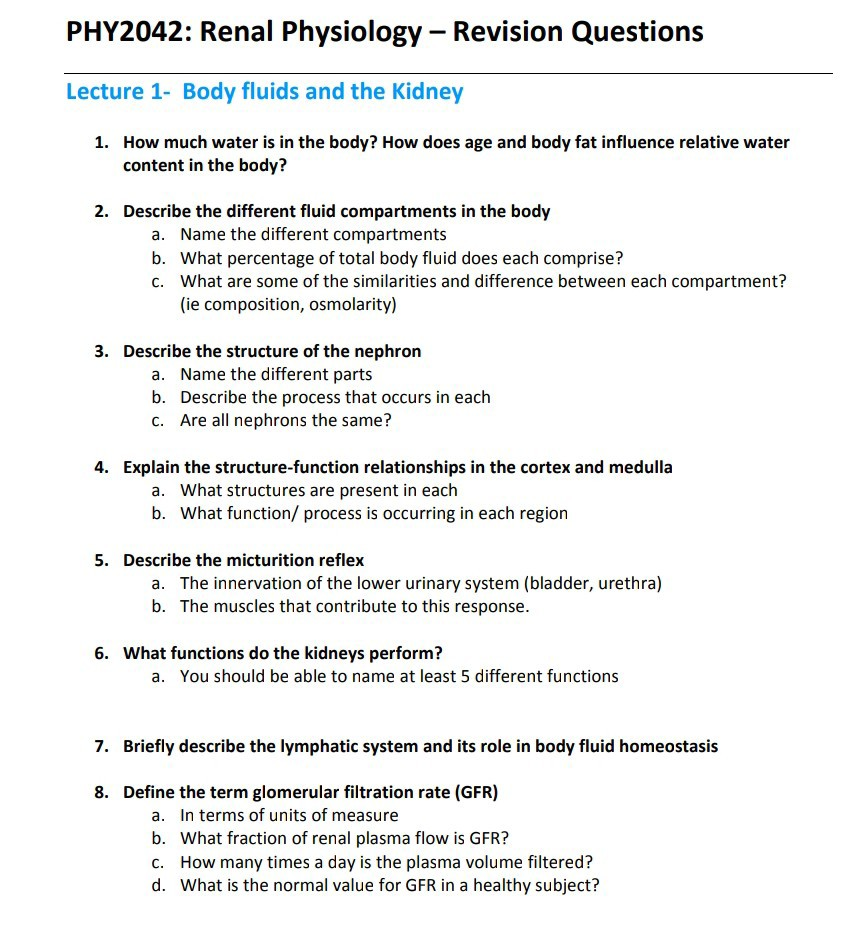 questions for the urinary system
