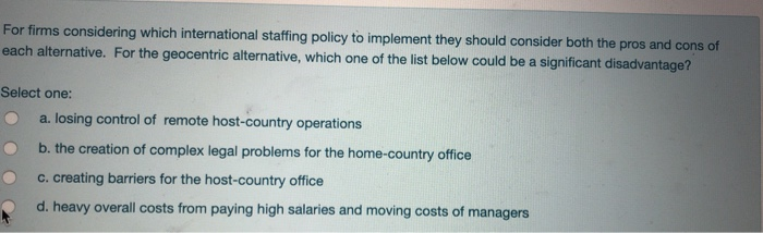 international staffing policy