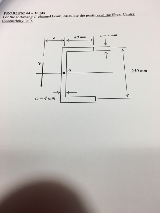 Solved: For The Following C-channel Beam, Calculate The Po