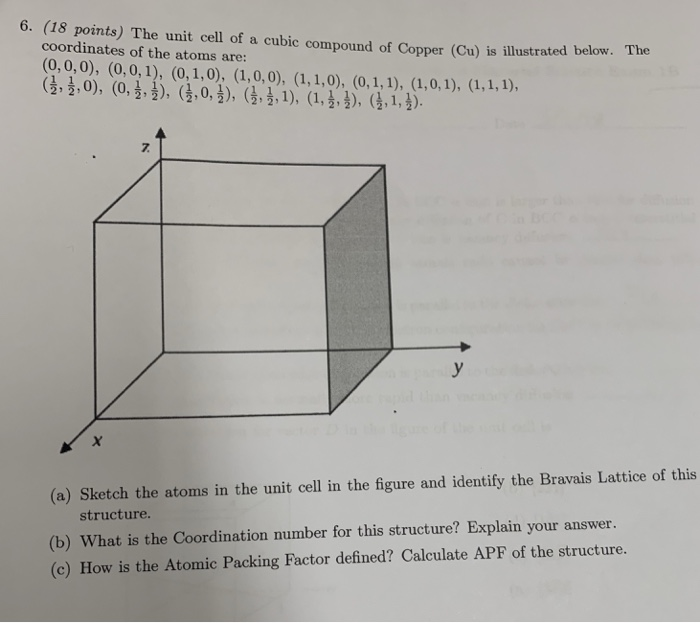 Solved: 6  (18 Points) The Unit Cell Of A Cubic Compound O