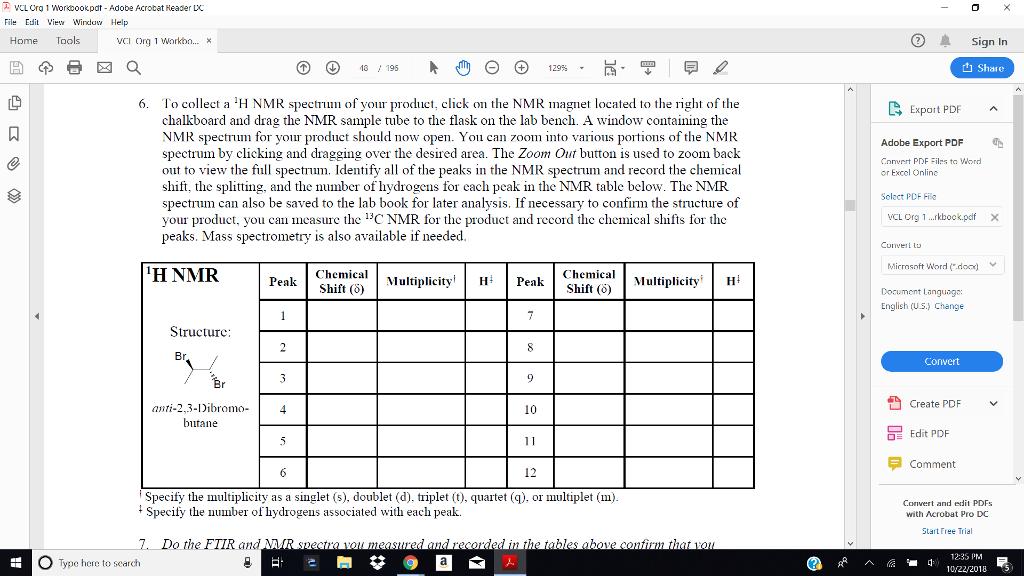 Solved Provide Ftir And Nmr For Anti 2 3 Dibromo Butane