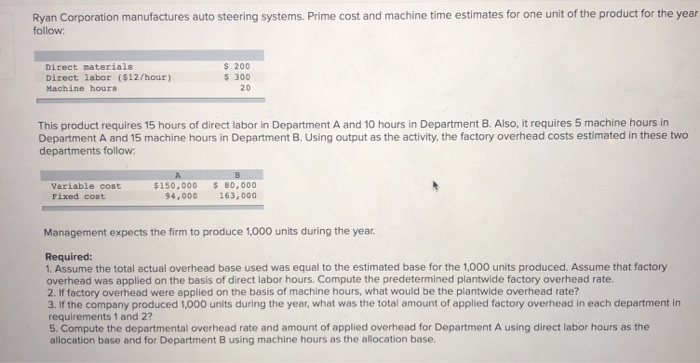 Question Ryan Corporation Manufactures Auto Steering Systems Prime Cost And Machine Time Estimates For On