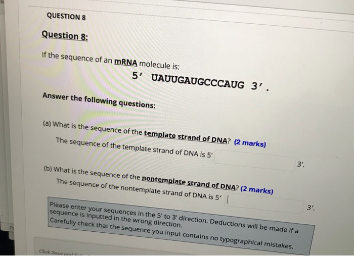 QUESTION 8 Question 8: If the sequence of an mRNA molecule is: 5 UAUUGAUGCCCAUG 3 Answer the following questions (a) What i