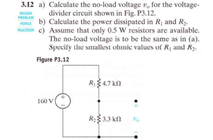 Solved: 3 12 A) Calculate The No-load Voltage Vo For The V