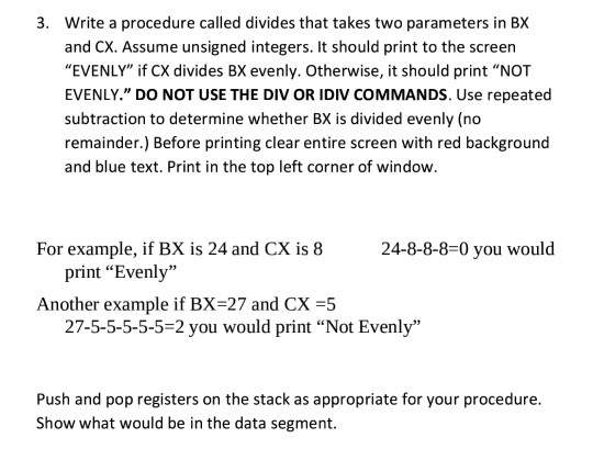 Solved: Assembly Language Procedure Question We Use TASM A