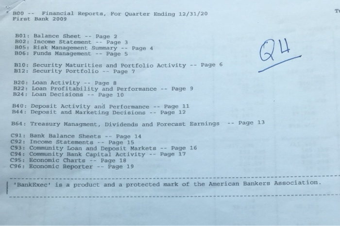 Solved: Using The Attached Bank 4th Quarter Reports For A