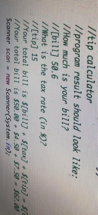 solved tip calculator program result should look like