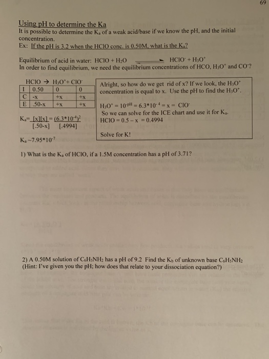 Solved 69 Using Ph To Determine The Ka It Is Possible To