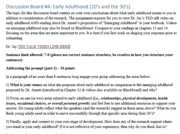 Discussion Board  Early Adulthood S And The S The Topic For