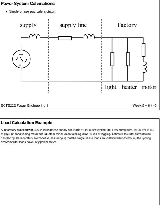 Solved: Power System Calculations Single Phase Equivalent ... on