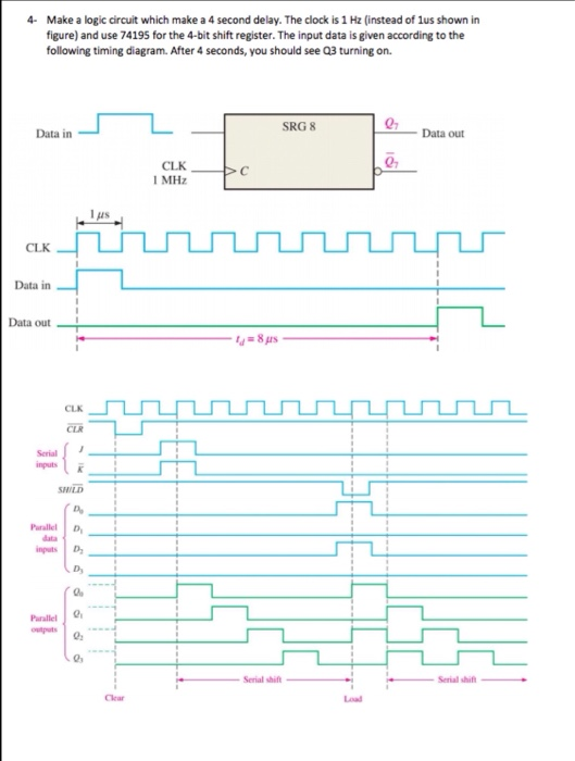 4- make a logic circuit which make a 4 second delay  the clock is