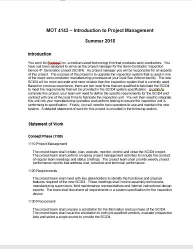 MOT 4143- Introduction To Project Management Sum      Chegg com
