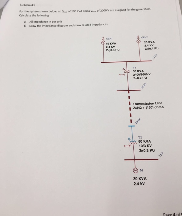 Problem #3: For the system shown below, an Sue of 100 KVA and a Vease Calculate the following of 2000 V are assigned for the generators. a. b. All impedance in per unit Draw the impedance diagram and show related impedances GEN GENI 15 KVA 2.4 KV 25 KVA 2.4 KV Z-j0.4 PU Z-j0.3 PU TI 50 KVA 2400/9600 V Z-0.2 PU Transmission Line 1 Z-(42 j160) ohms 60 KVA 10/3 KV Z-0.3 PU 30 KVA 2.4 kV Pare 4 of 5
