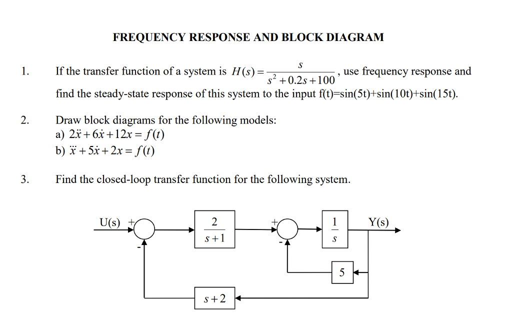 Solved: FREQUENCY RESPONSE AND BLOCK DIAGRAM 1. If The Tra... | Chegg.comChegg