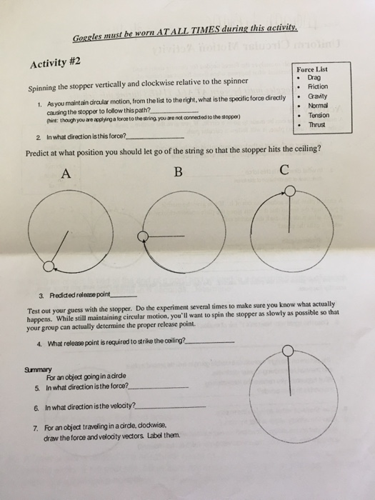 Physics Circular Motion Worksheet Answer Key