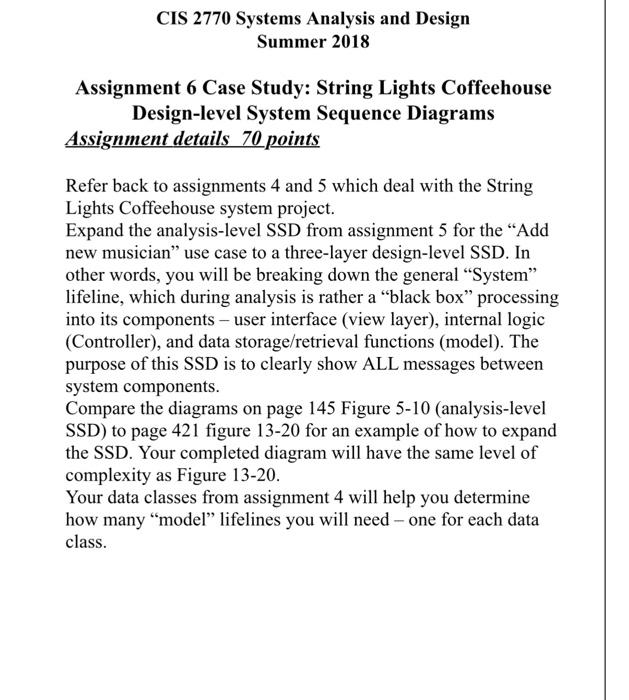 Solved Cis 2770 Systems Analysis And Design Summer 2018 A Chegg Com