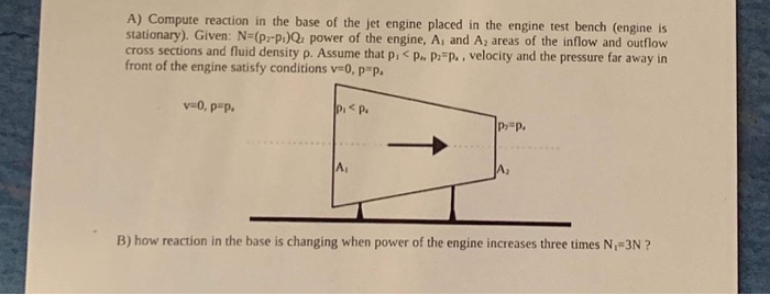 A) Compute reaction in the base of the jet engine placed in the engine test bench (engine is stationary). Given: N (p-p)Q pow