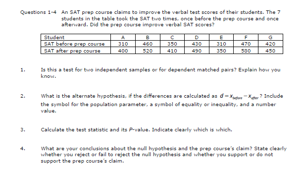 Solved: Questions 1-4 An SAT Prep Course Claims To Improve