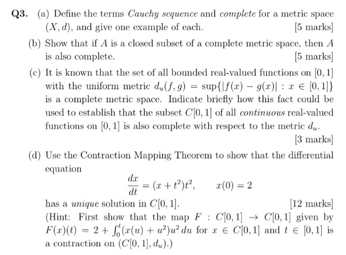 Solved A Define The Terms Cauchy Sequence And Complete