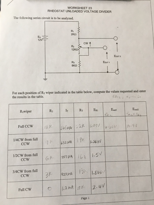 solved worksheet 23 rheostat unloaded voltage divider the worksheet 23 rheostat unloaded voltage divider the following series circuit is to be analyzed r1
