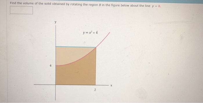 Find the volume of the solid obtained by rotating the region B in the figure below about the line y 8. y+