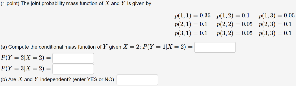 1 point) The joint probability mass function of X and Y is given by p(1,1)=0.35 p(2,1)一0.1 p(3,1) 0.1 p(1,2) 0.1 p(2,2)-0.05 p(3,2) 0.05 p(1, 3)-0.05 p(2, 3)-0.1 p(3, 3) 0.1 (a) Compute the conditional mass function of Y given X-2: P(Y-IX-2)- P(Y = 2 X = 2) = (b) Are X and Y independent? (enter YES or NO)