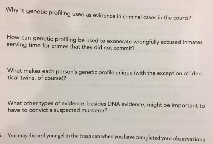 Biology archive march 27 2018 chegg why is genetic profiling used as evidence in criminal cases in the courts how can fandeluxe Gallery