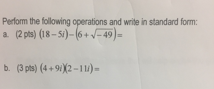 Solved Perform The Following Operations And Write In Stan