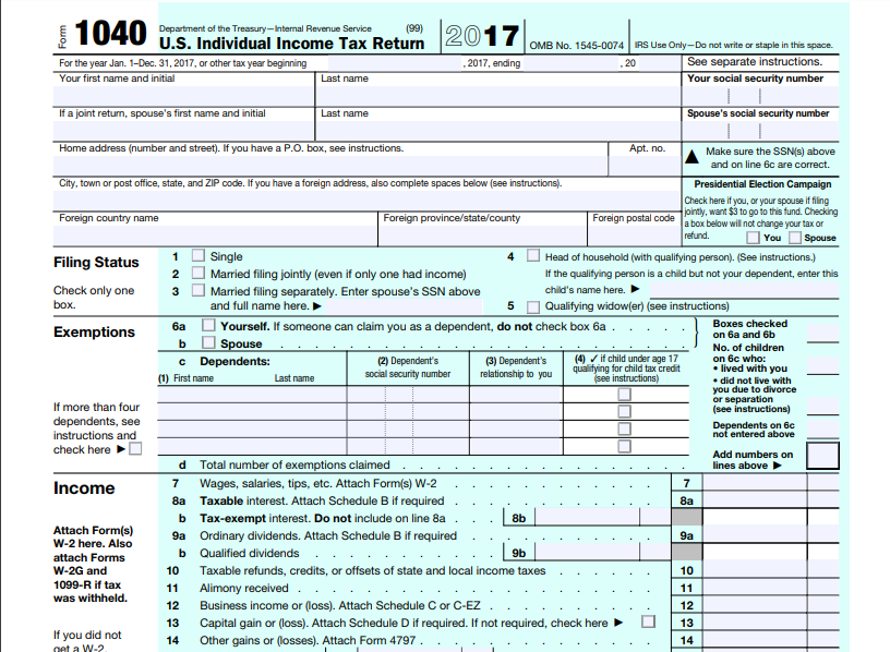 form 1040 us individual income tax return 2017  Tax Return #6 - Windsor Clark Check Figures - Form ...