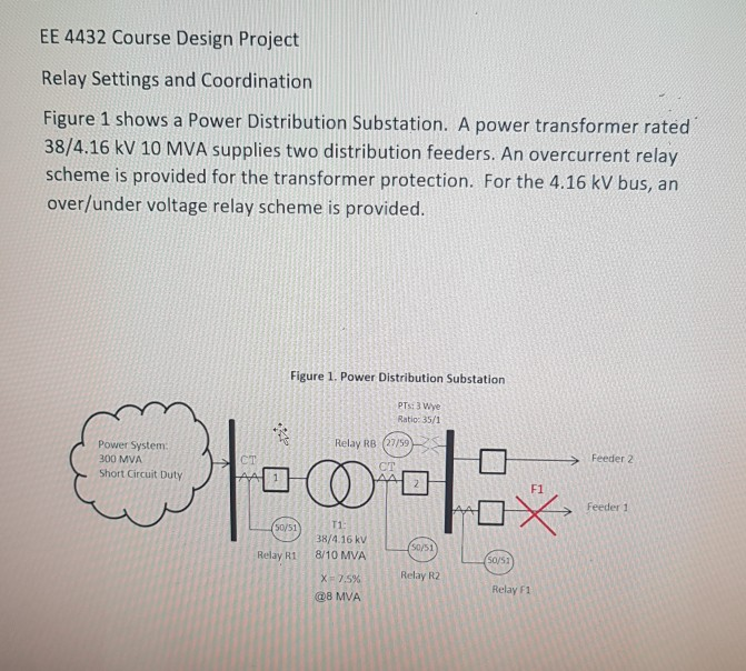 Solved: EE 4432 Course Design Project Relay Settings And C