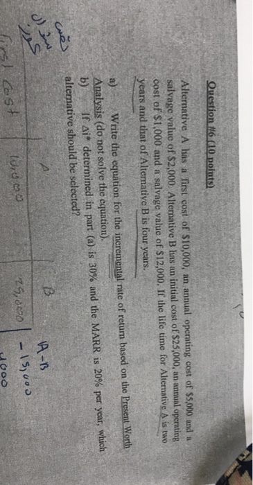 Solved: Question #6 10 Points) Alternative A Has A First C