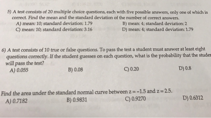 Solved: 5) A Test Consists Of 20 Multiple Choice Questions ...