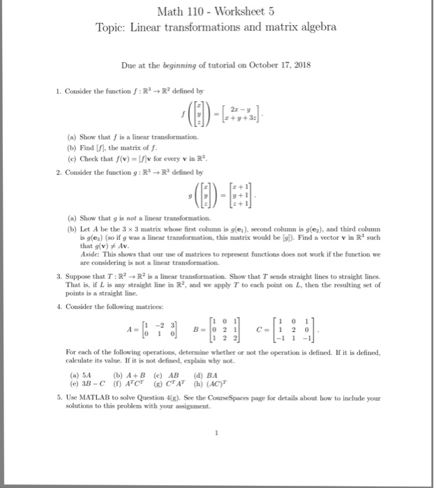 Solved Math 110 Worksheet 5 Topic Linear Transformations