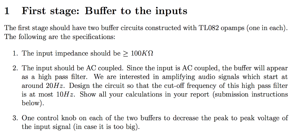 1 First Stage: Buffer To The Inputs The First Stag