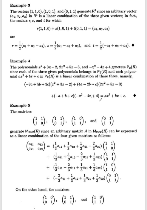 Solved: Example 3 The Vectors (1,1,0), (1,0,1), And (0, 1 ...