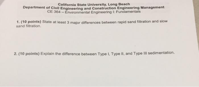 Solved California State University Long Beach Department