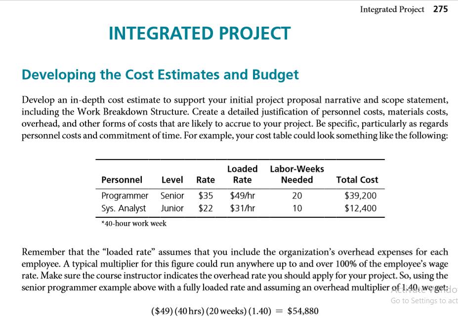 Develop Cost And Budget Develop Cost And Budget Ba Chegg Com