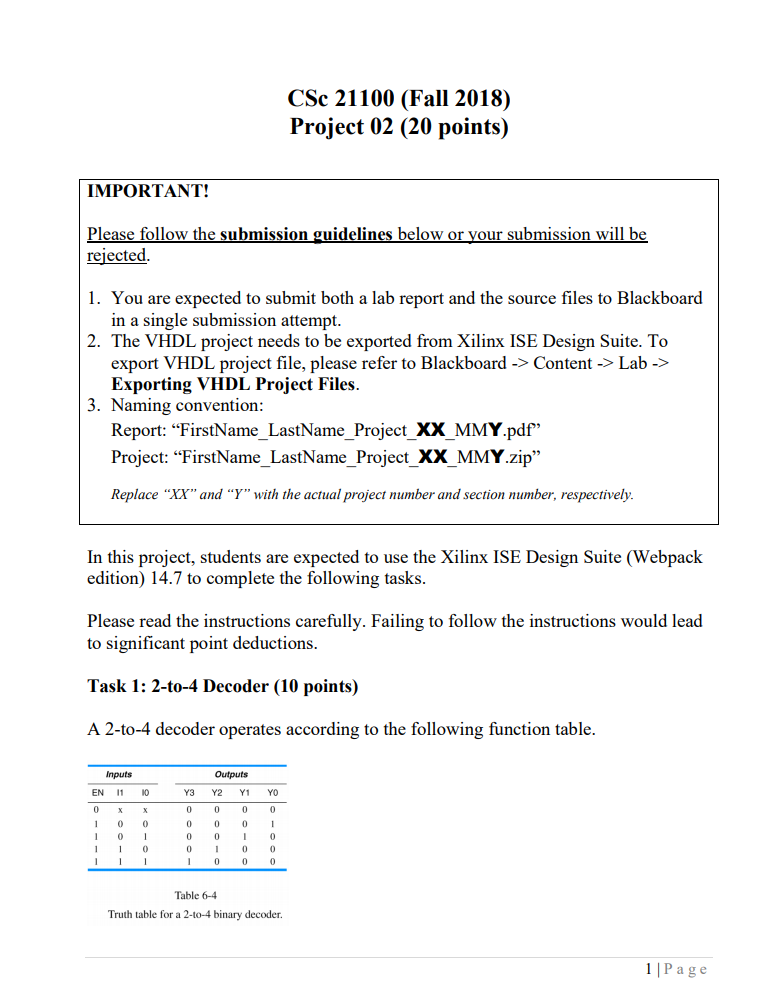 Solved: CSc 21100 (Fall 2018) Project 02 (20 Points) IMPOR