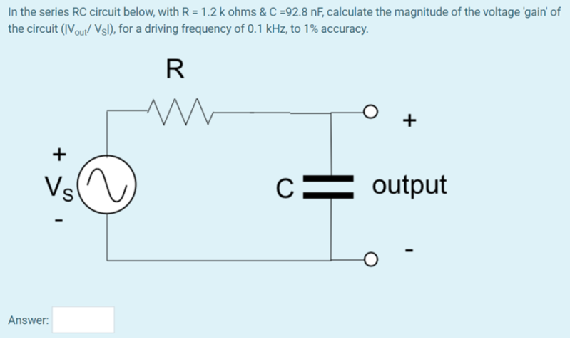 Solved: In The Series RC Circuit Below, With R -6.1 K Ohms ...